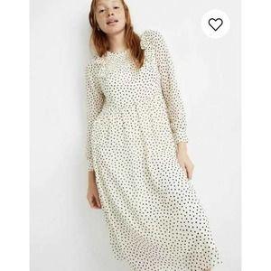 Madewell Ivory Polka Dot Smocked Ruffle Midi Dress